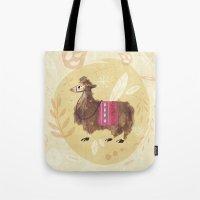 llama Tote Bags featuring Llama by Juliana Cuervo