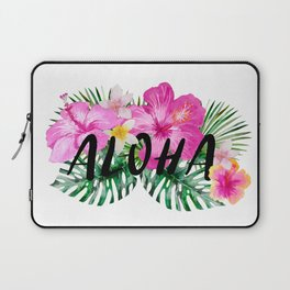 ALOHA - Tropical Flowers, Palm Leaves and Typography Laptop Sleeve