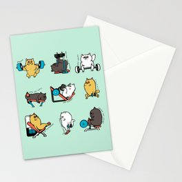 Leg Day with Persian Cat Stationery Cards