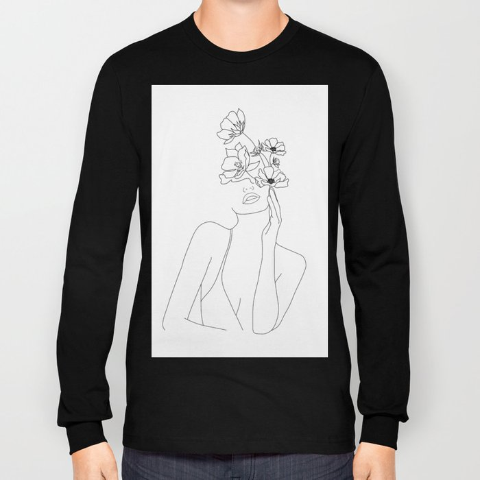 Minimal Line Art Woman with Flowers Long Sleeve T-shirt