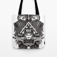gore Tote Bags featuring hard gore by Andrea Moresco