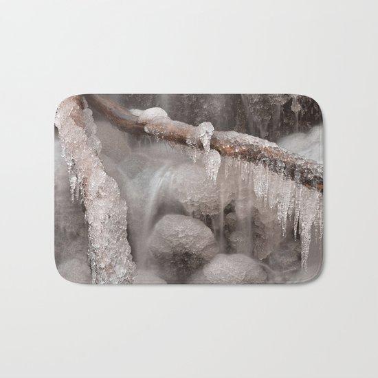 Frozen Winter Waterfall Bath Mat