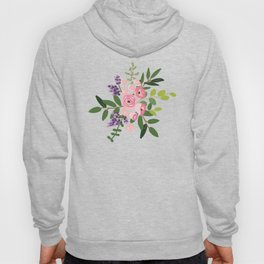 Pink roses bouquets with greenery on the striped background Hoody