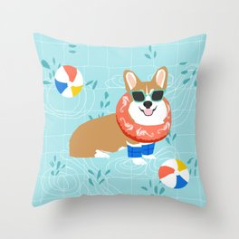 Corgi Pool Party Summer Fun Dog Costume Beach Ball Corgi Dog Design Throw Pillow