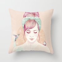 hair Throw Pillows featuring Pink hair lady by Ariana Perez