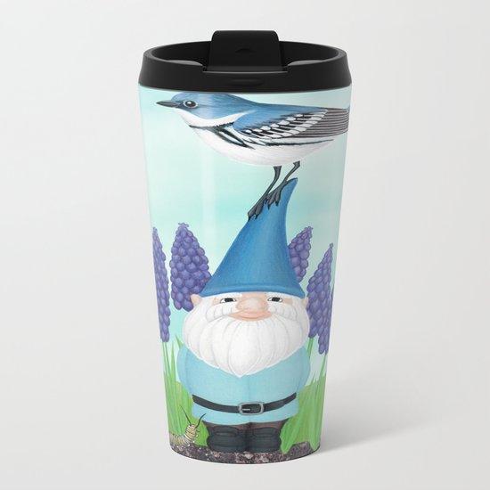 gnome with cerulean warbler and grape hyacinths Metal Travel Mug
