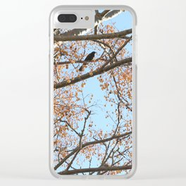 Rowan tree branches with berries and bird Clear iPhone Case