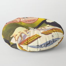 Vintage poster - Trained pigs Floor Pillow