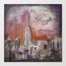 Boat over the City Canvas Print