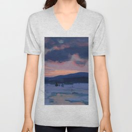 Clarence Gagnon - Crépuscule d'hiver - Winter Twilight, Baie St. Paul - Canadian Oil Painting Unisex V-Neck