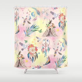 boho elements watercolor collage Shower Curtain