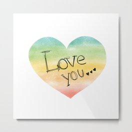 Love You Watercolor Heart Metal Print