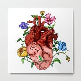 An Overgrown Floral Heart Metal Print