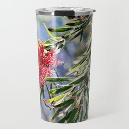 Beautiful Red Bottle Brush flower Travel Mug