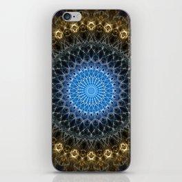 Golden mandala with blue star iPhone Skin
