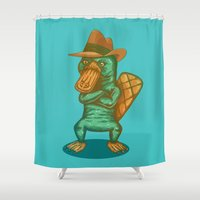 platypus Shower Curtains featuring Perry the Platypus by Hailstorm Tee