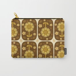 Retro Blooms in Mustard Carry-All Pouch