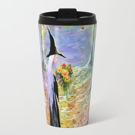 """""""Autumn Forest"""" Witch in colorful forest Travel Mug"""