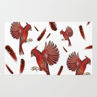cardinal Area & Throw Rugs featuring Cardinal by Jody Edwards Art