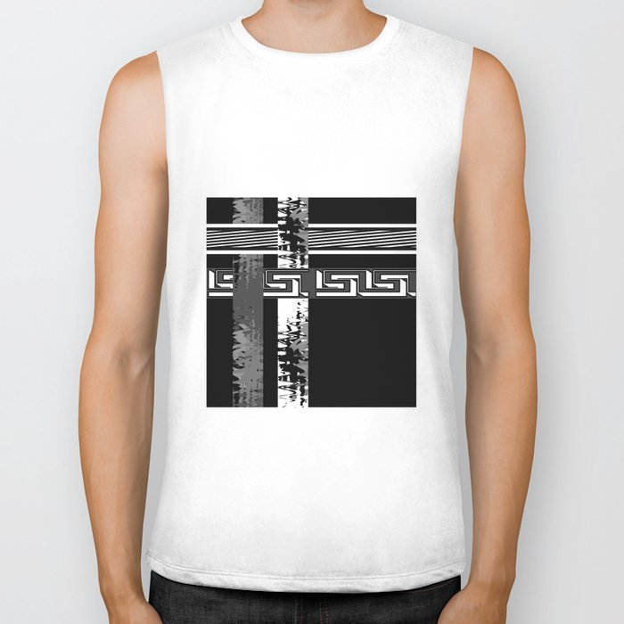 Creative Black and white pattern . The braided belts . Biker Tank