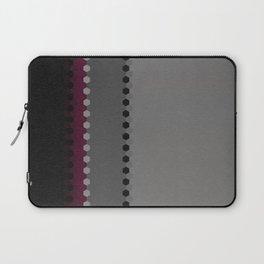 Modern Burgundy Grey Black Stripe Dot Pattern Laptop Sleeve