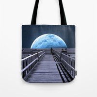 bill Tote Bags featuring Once in a blue moon by Donuts