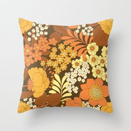 Brown, Yellow, Orange & Ivory Retro Flowers Throw Pillow