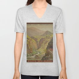Vintage poster - Route des Alpes, France Unisex V-Neck