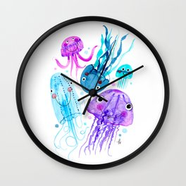 Jelly Fish Fields - Ocean Watercolor Wall Clock