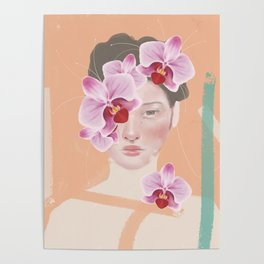 Girl Orchid Flower Poster