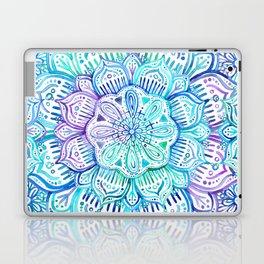Iridescent Aqua and Purple Watercolor Mandala Laptop & iPad Skin