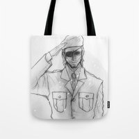 "metal gear solid Tote Bags featuring Metal gear Solid ""Big Boss"" by Psychohpeliac"