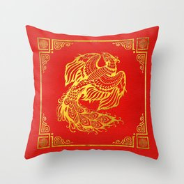 Golden Phoenix  Feng Shui Symbol on Faux Leather Throw Pillow