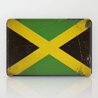 jamaica iPad Cases featuring Vintage flag of Jamaica by TilenHrovatic