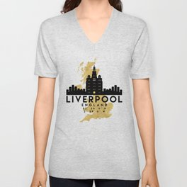 LIVERPOOL ENGLAND SILHOUETTE SKYLINE MAP ART Unisex V-Neck
