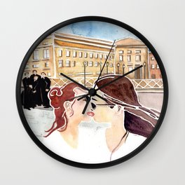 Kissing In Front Of The Clergy Wall Clock