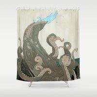 kraken Shower Curtains featuring Kraken by Black Feather Illustration