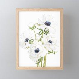 white anemone flower  watercolor painting Framed Mini Art Print
