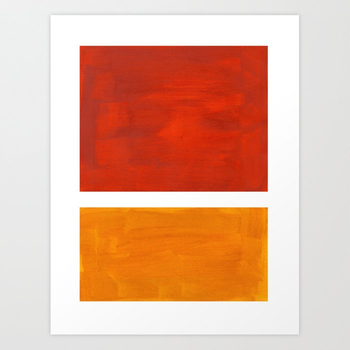 Burnt Orange Yellow Ochre Mid Century Modern Abstract Minimalist Rothko Color Field Squares Kunstdrucke