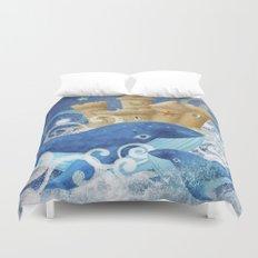 Sandcastle Waves Whales Duvet Cover