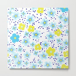 Cheerful Sea of Blue Flowers Metal Print