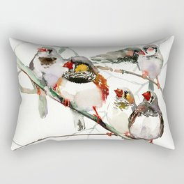 Birds, Cute birds Zebra Finch Art, Pet bird, Nursery, Children room Rectangular Pillow