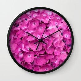 Artful Pink Hydrangeas Floral Design Wall Clock