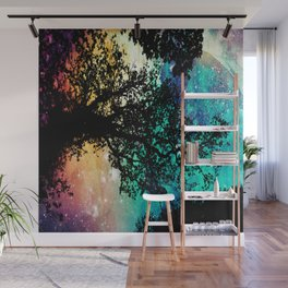 Black Trees Colorful Space Wall Mural