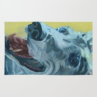 greyhound Area & Throw Rugs featuring Dilly the Greyhound Portrait by Barking Dog Creations Studio
