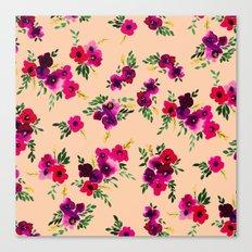 Ava Floral Peach Canvas Print