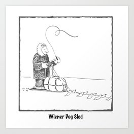 Wiener Dog Sled Art Print