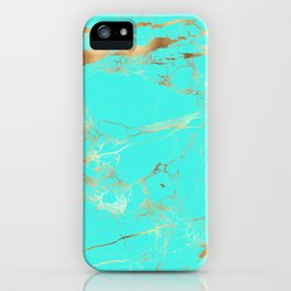 Turquoise Texture + Gold Veins iPhone Case