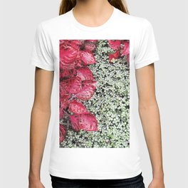 Pink Leaves on Green Carpet T-shirt