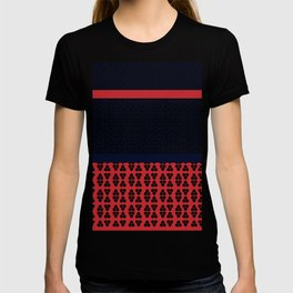 Japanese Style Ethnic Quilt Blue and Red T-shirt